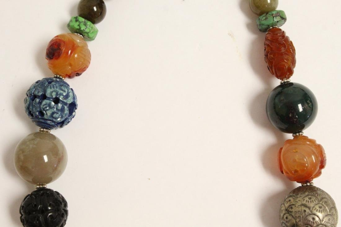 vintage necklace w/ agate, turquoise and jade bead - 4
