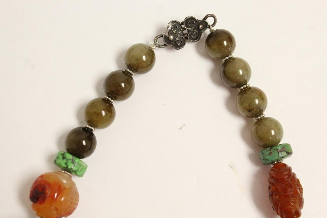 vintage necklace w/ agate, turquoise and jade bead - 5