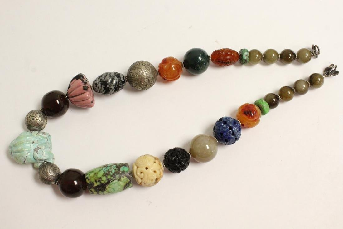 vintage necklace w/ agate, turquoise and jade bead - 6