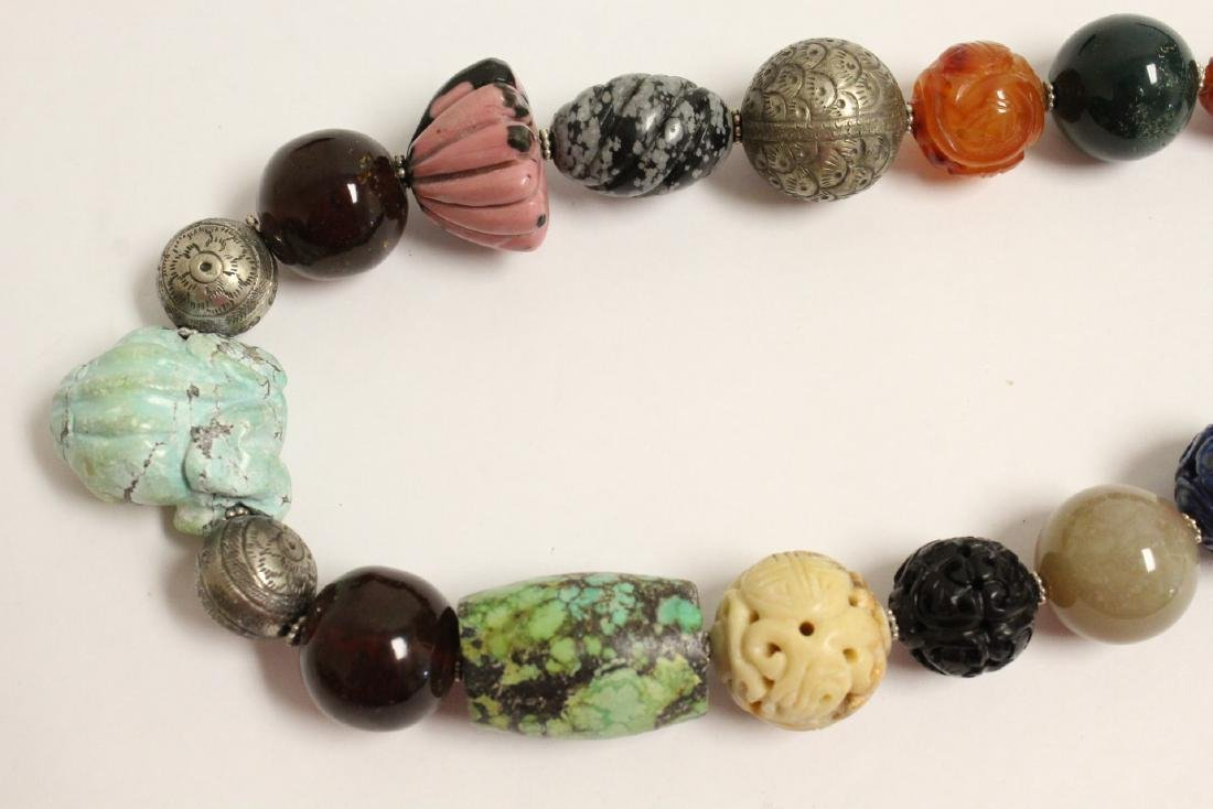 vintage necklace w/ agate, turquoise and jade bead - 7