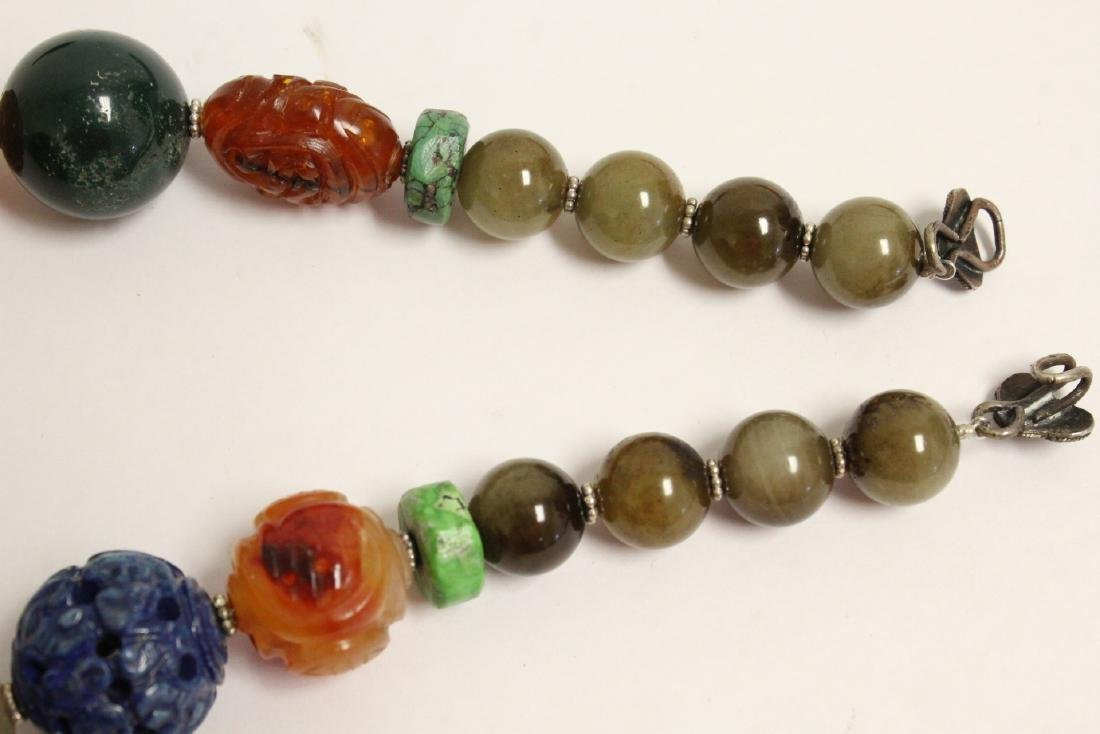 vintage necklace w/ agate, turquoise and jade bead - 9
