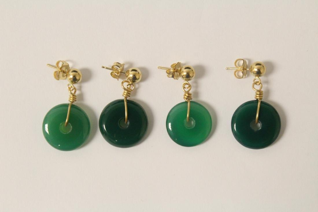 2 pair green agate disc motif earrings