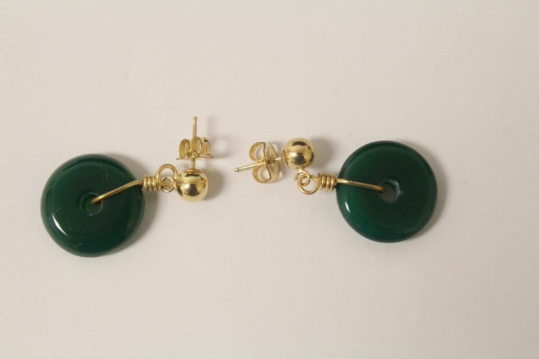 2 pair green agate disc motif earrings - 6