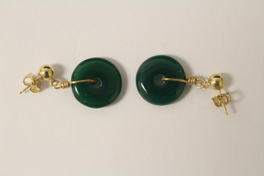 2 pair green agate disc motif earrings - 7
