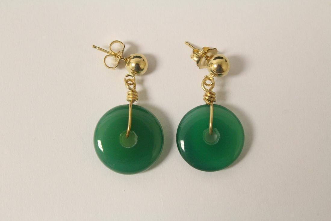 2 pair green agate disc motif earrings - 9
