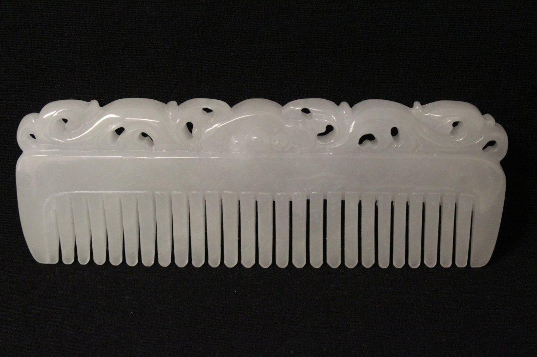 A rare white jadeite carved comb - 10