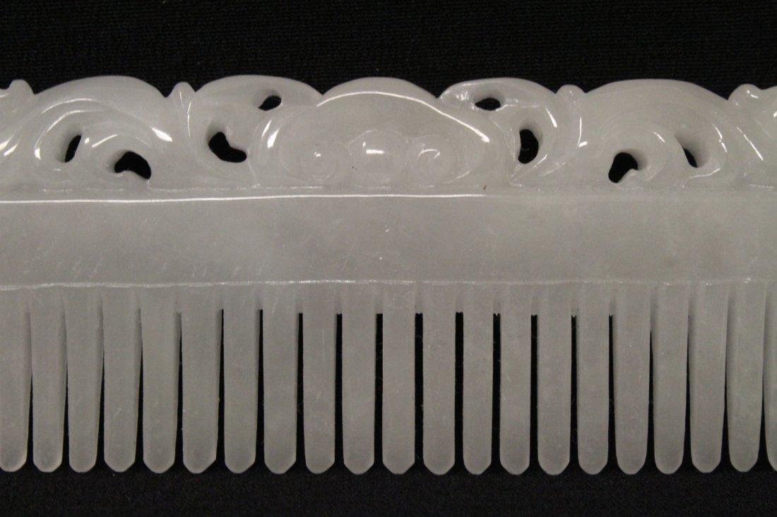 A rare white jadeite carved comb - 2