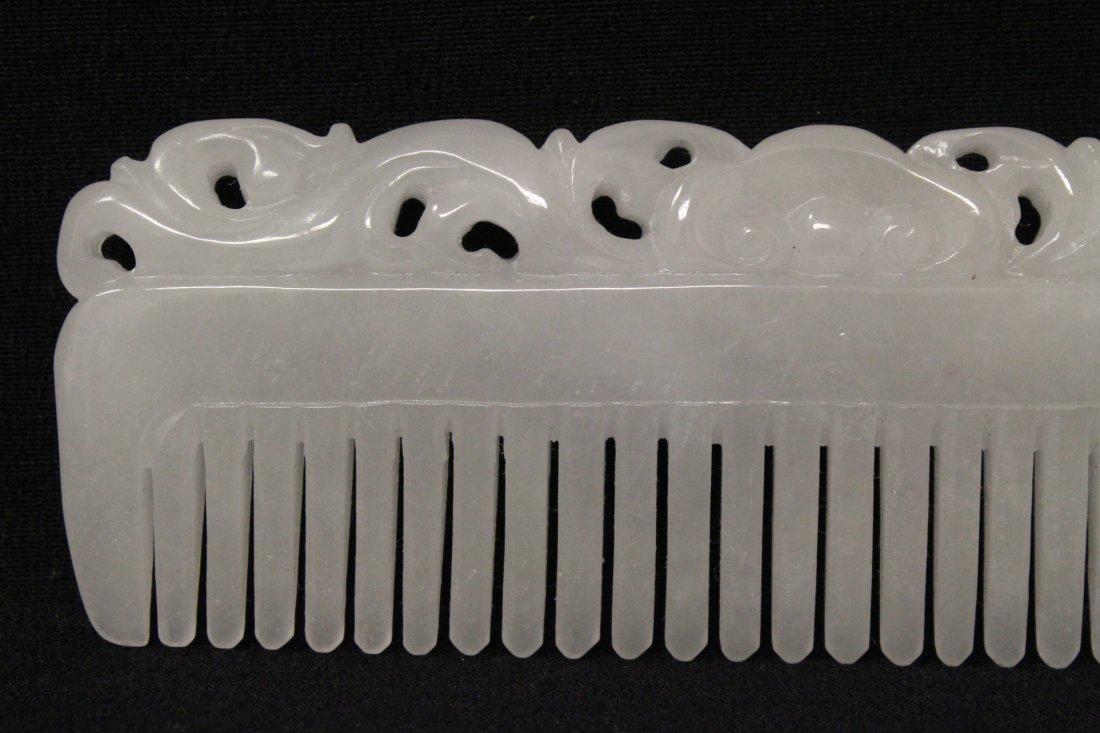 A rare white jadeite carved comb - 3