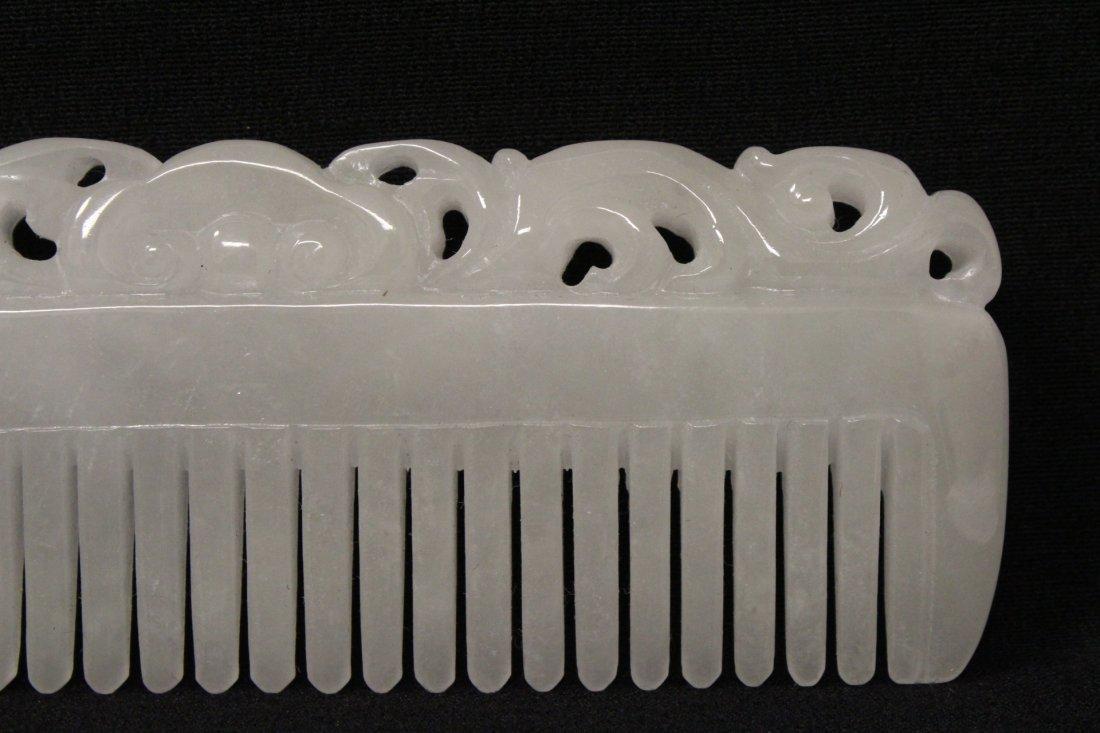 A rare white jadeite carved comb - 4