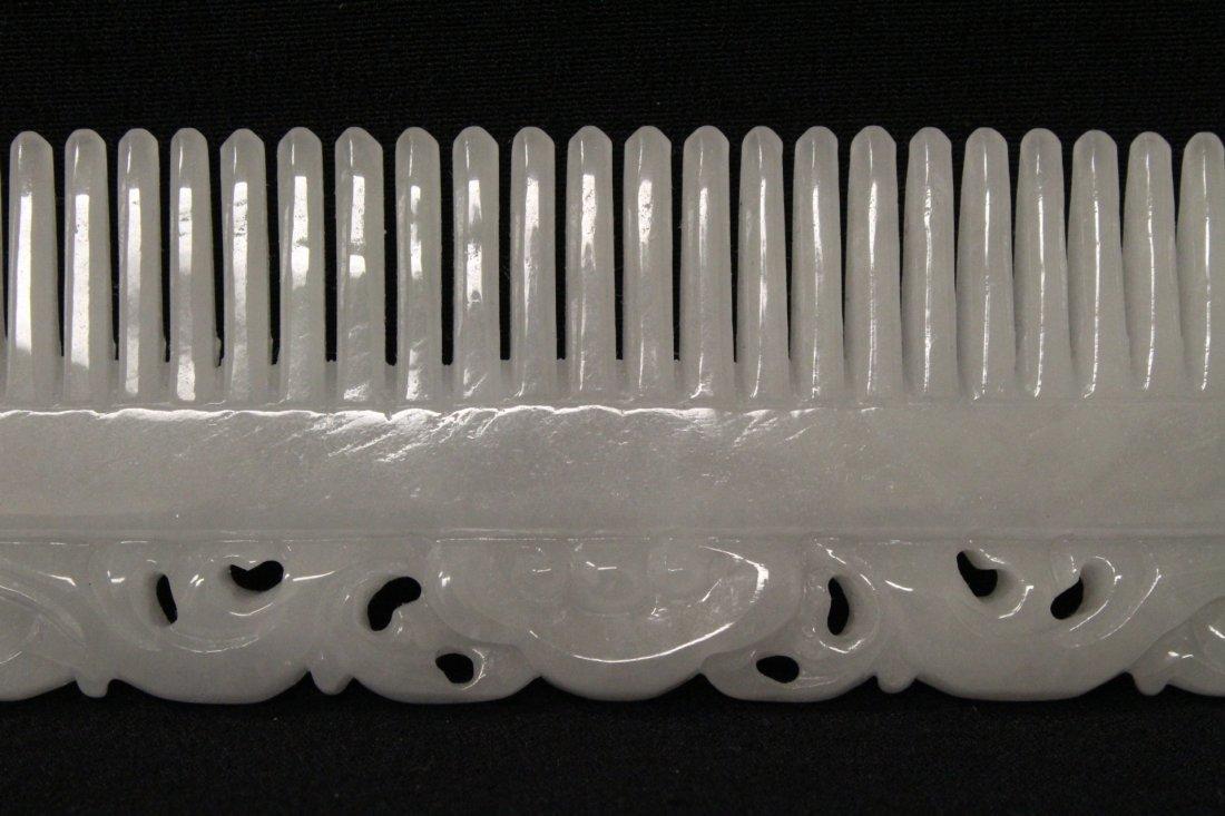A rare white jadeite carved comb - 7