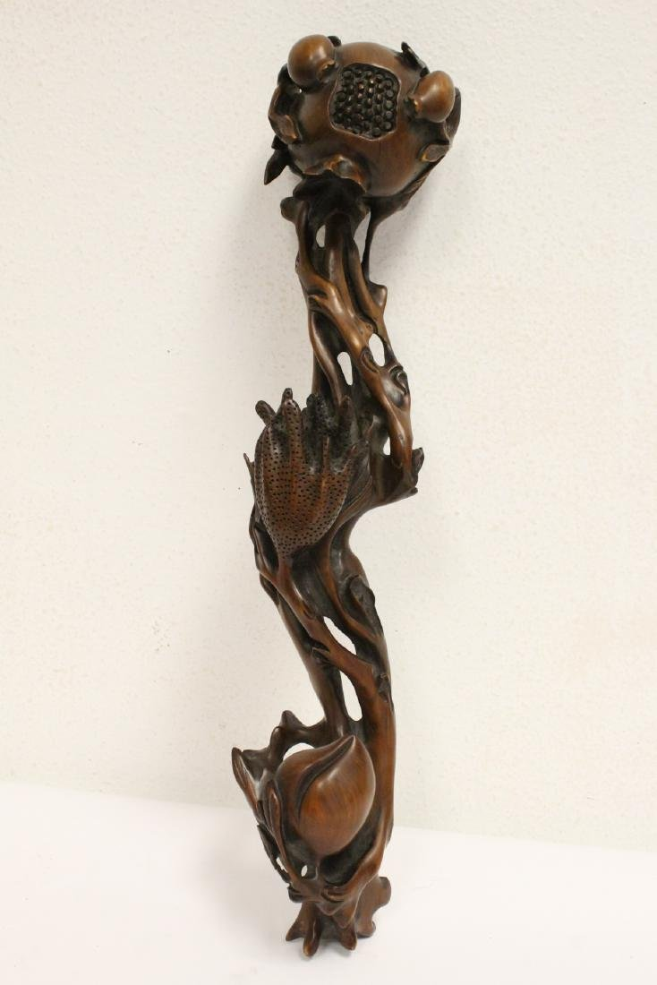 Chinese wood carved ruyi in peach fruit motif