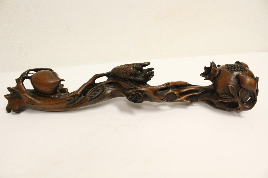 Chinese wood carved ruyi in peach fruit motif - 5