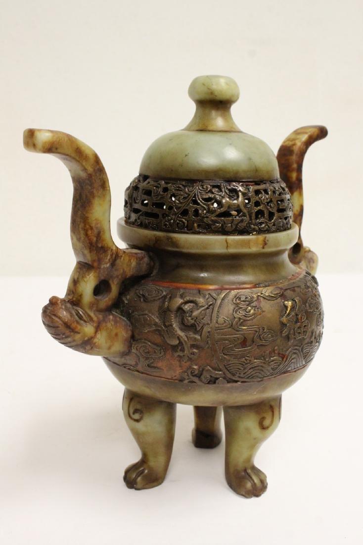 Chinese shoushan stone carved covered censer - 10