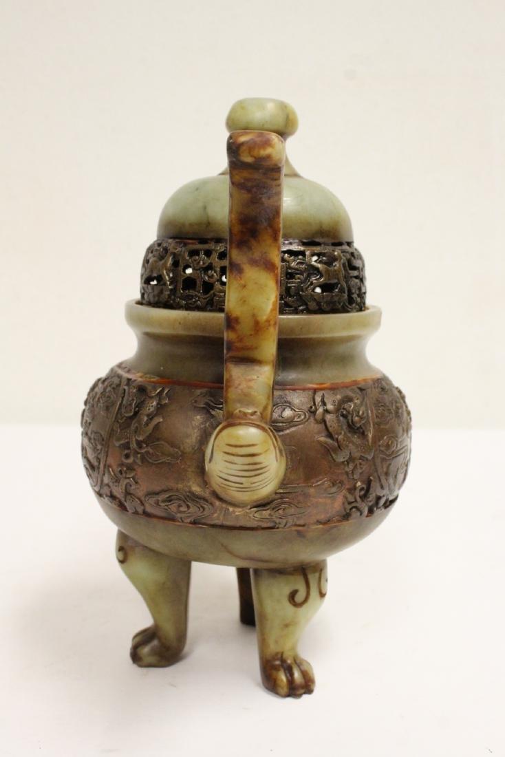 Chinese shoushan stone carved covered censer - 4