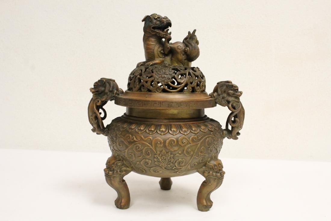 Chinese bronze censer with qilin motif finial