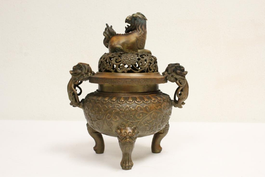 Chinese bronze censer with qilin motif finial - 3