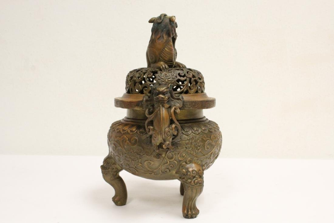 Chinese bronze censer with qilin motif finial - 4