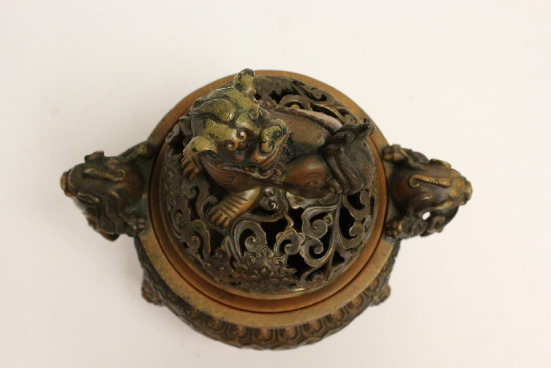 Chinese bronze censer with qilin motif finial - 5
