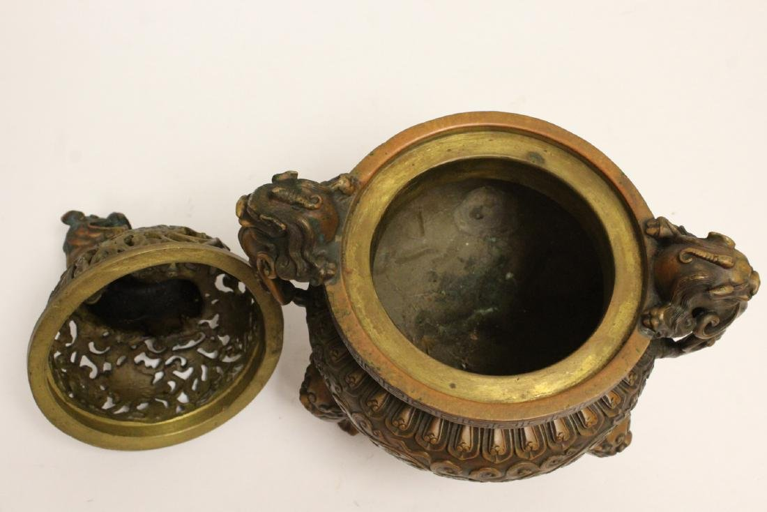 Chinese bronze censer with qilin motif finial - 6