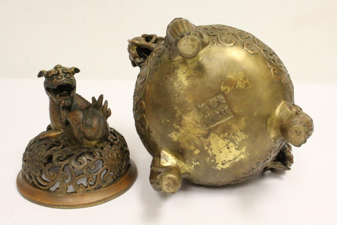 Chinese bronze censer with qilin motif finial - 9