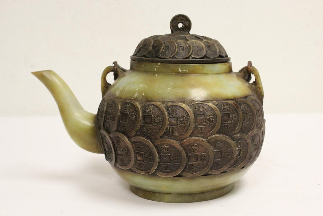 Chinese shoushan stone and bronze teapot