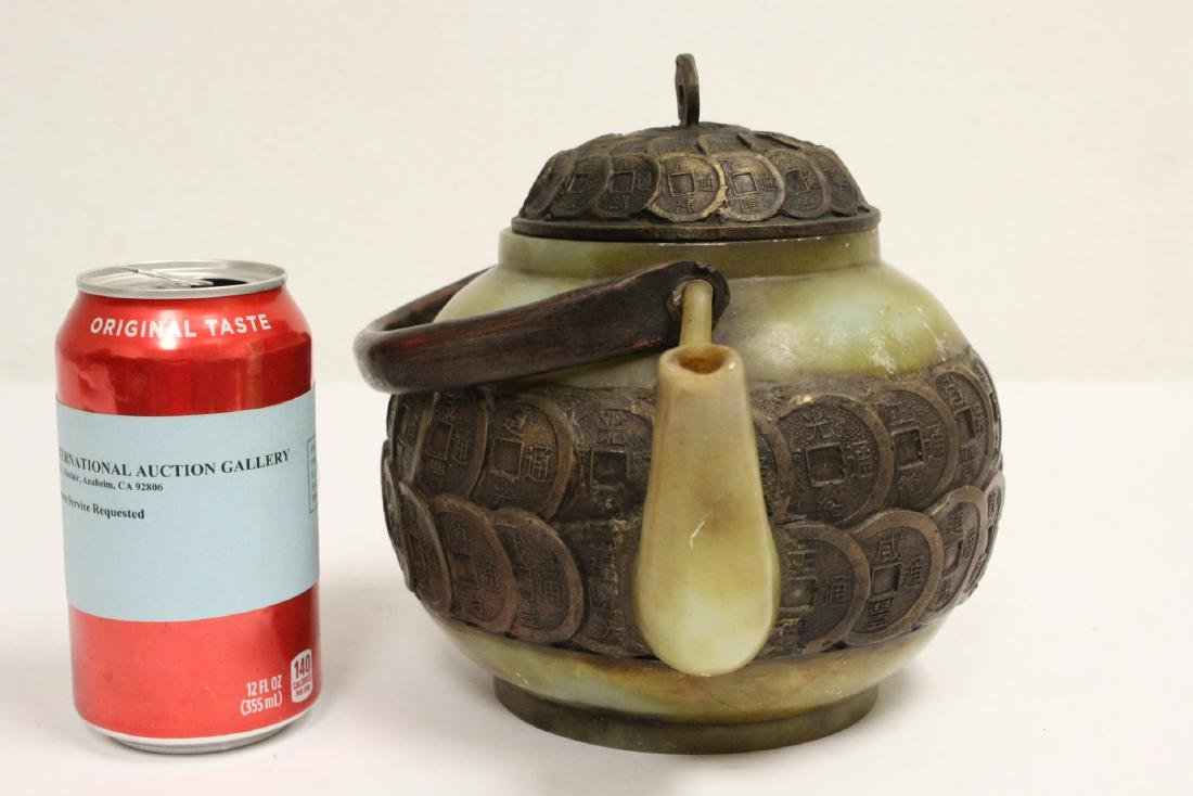 Chinese shoushan stone and bronze teapot - 2