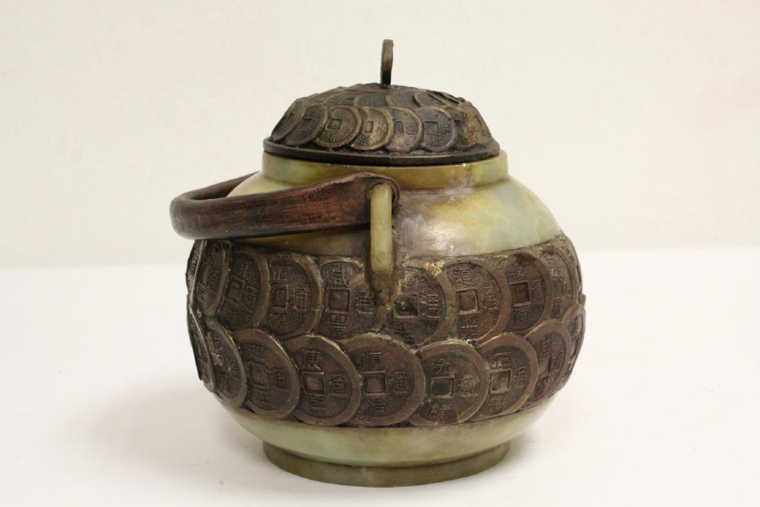 Chinese shoushan stone and bronze teapot - 4