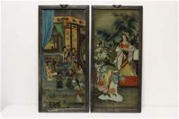 Pair large Chinese framed reverse painted panels