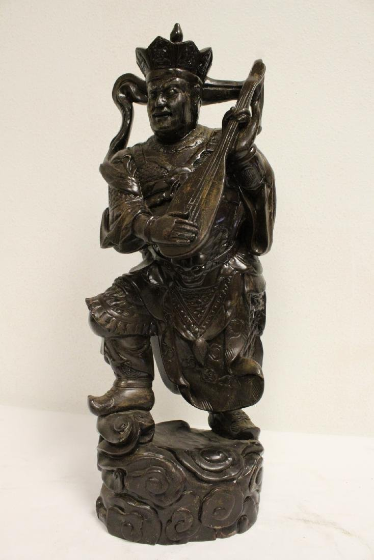 6 Chinese rosewood carved deities - 10
