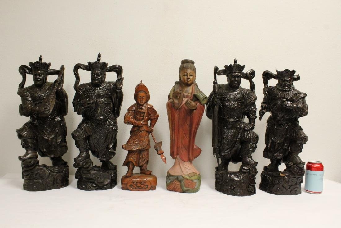 6 Chinese rosewood carved deities