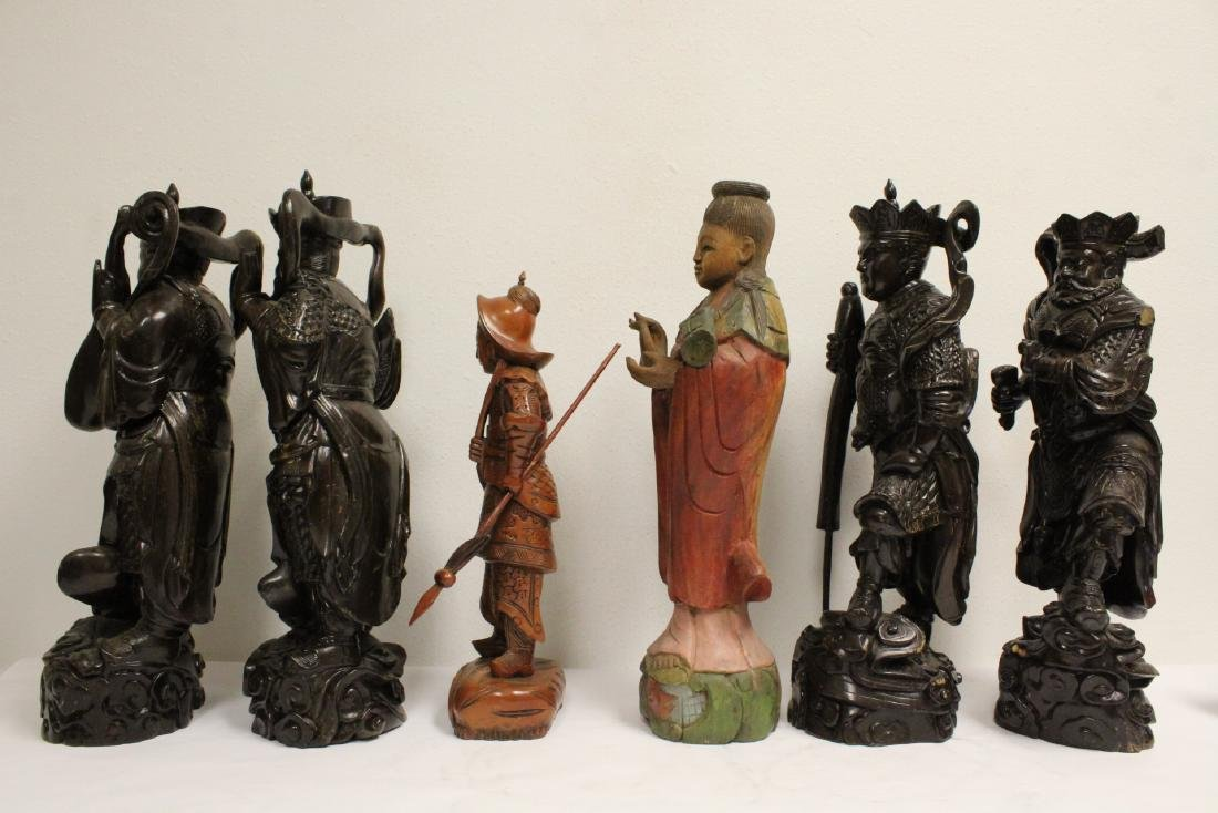 6 Chinese rosewood carved deities - 2