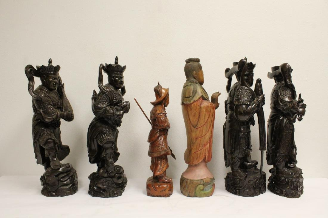 6 Chinese rosewood carved deities - 4