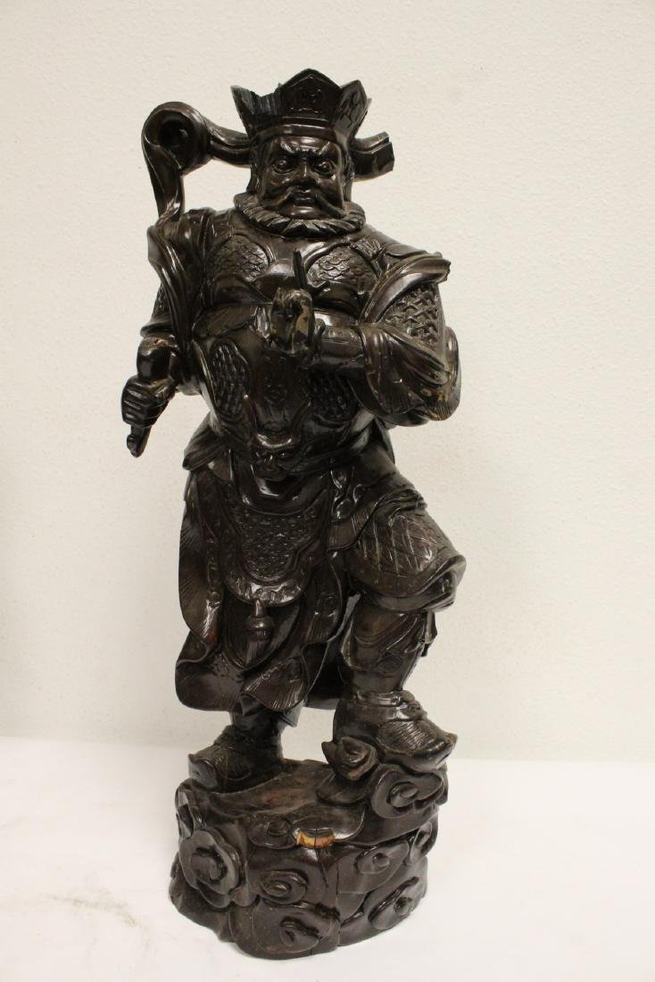 6 Chinese rosewood carved deities - 5