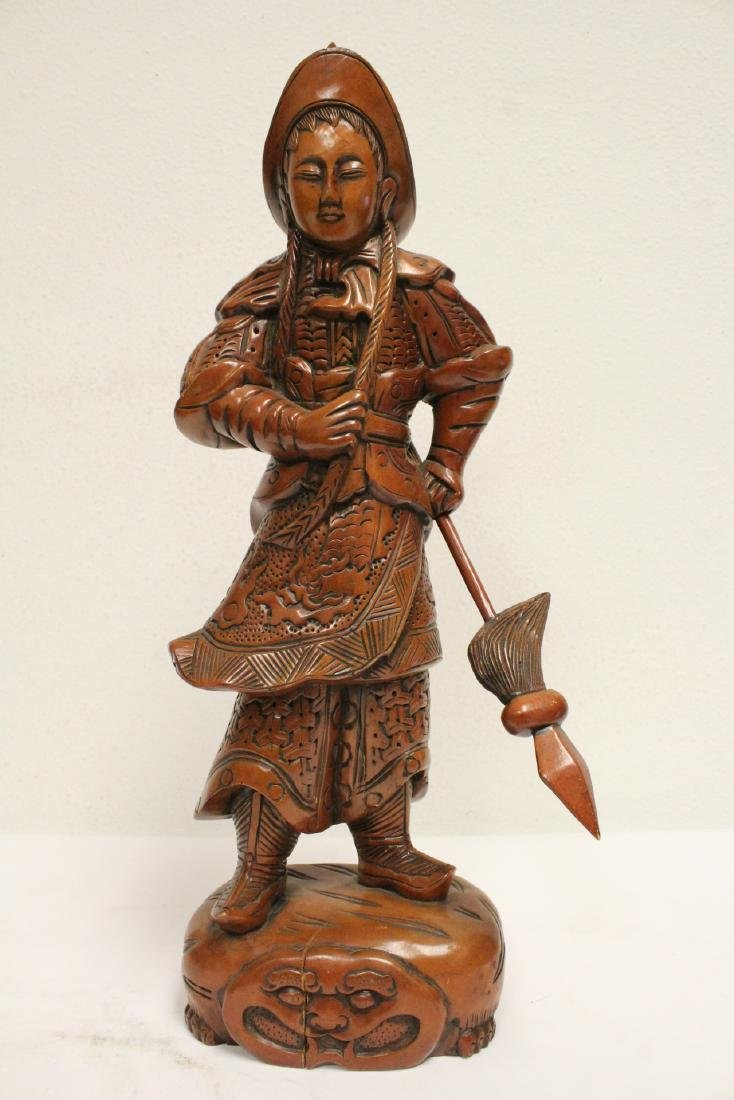6 Chinese rosewood carved deities - 6