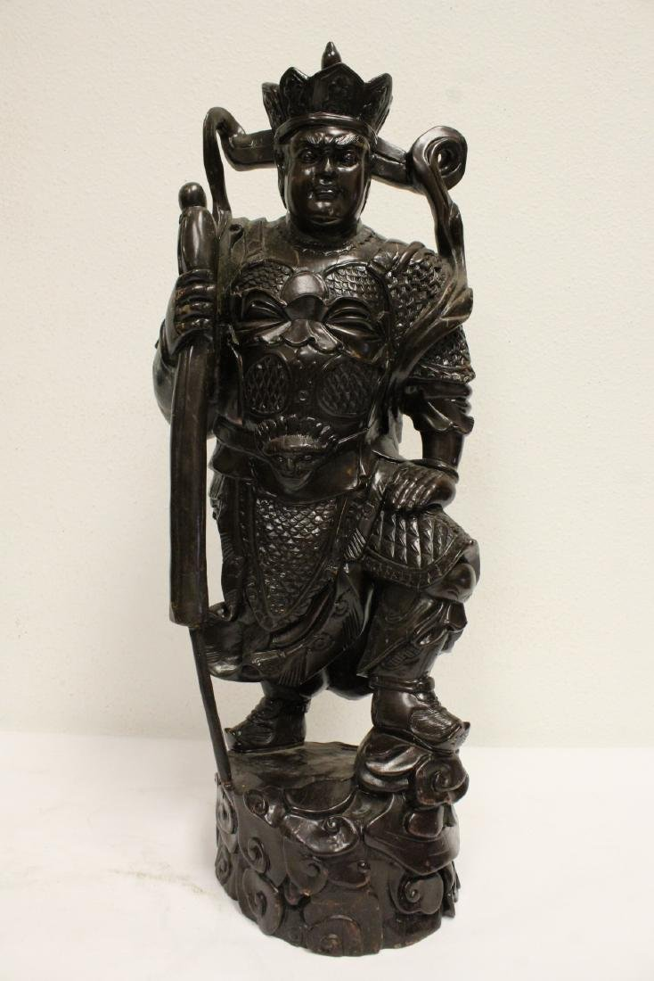 6 Chinese rosewood carved deities - 7