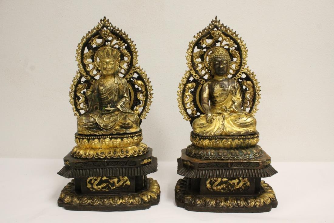 Pair Chinese bronze sculpture of Buddha