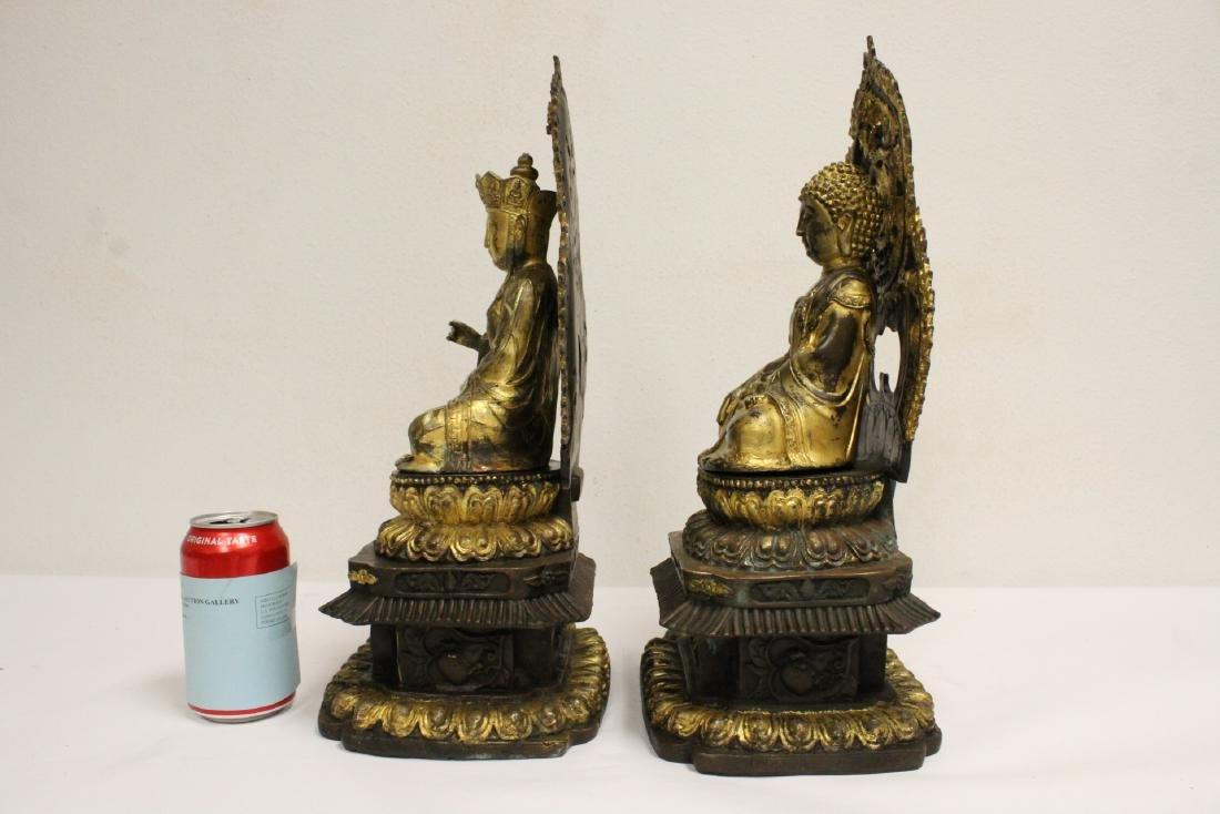 Pair Chinese bronze sculpture of Buddha - 2