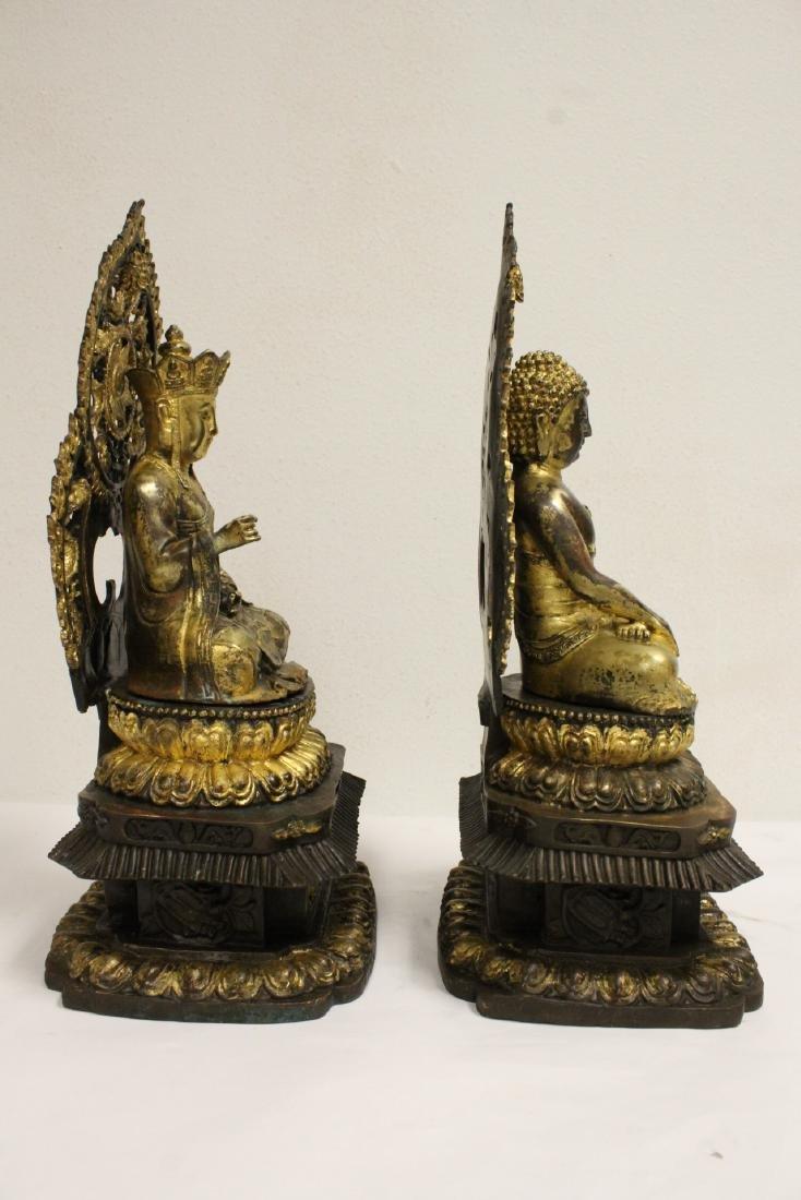 Pair Chinese bronze sculpture of Buddha - 3