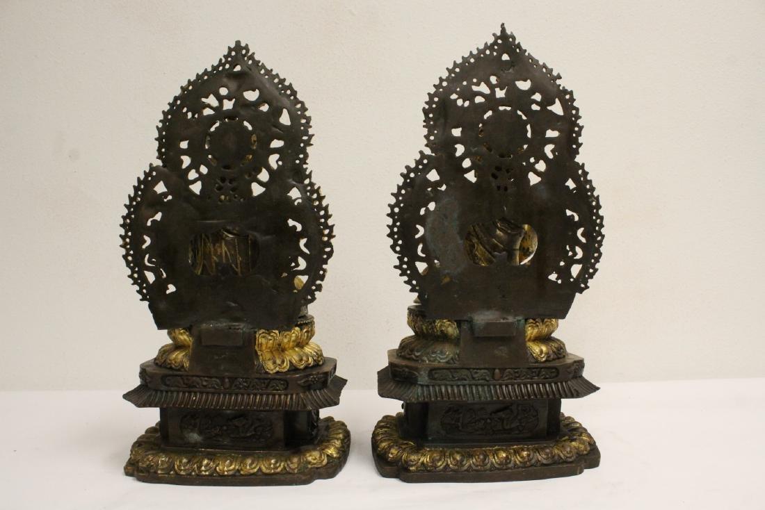 Pair Chinese bronze sculpture of Buddha - 4