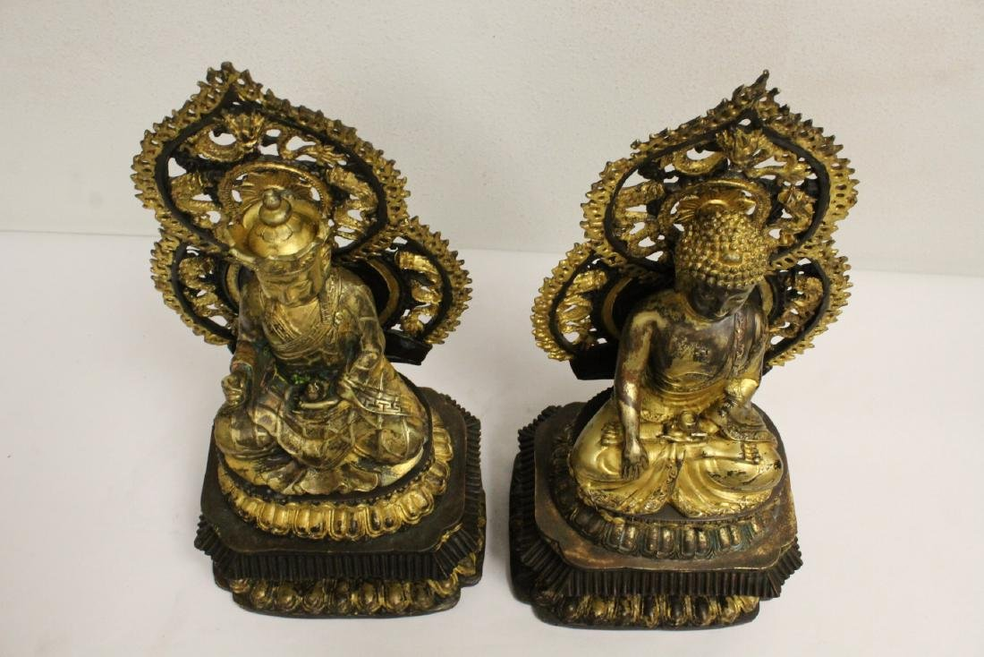 Pair Chinese bronze sculpture of Buddha - 5