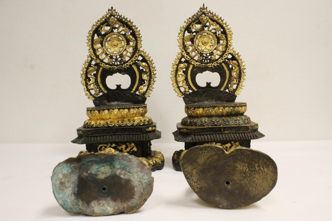 Pair Chinese bronze sculpture of Buddha - 6
