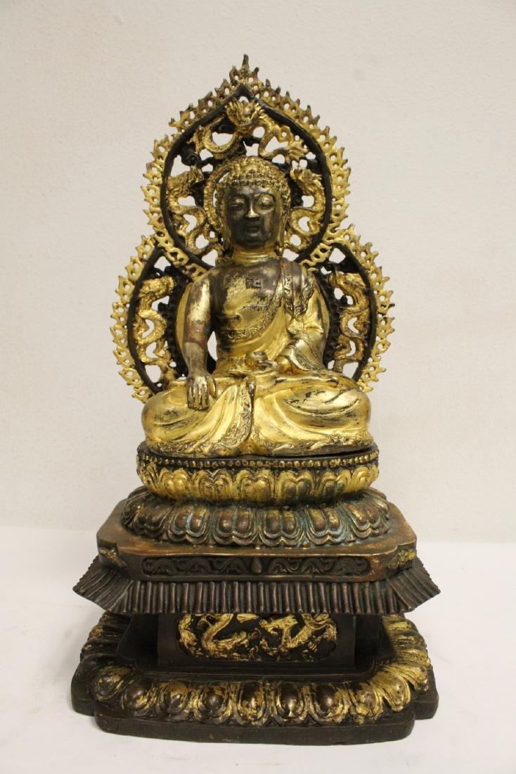 Pair Chinese bronze sculpture of Buddha - 7