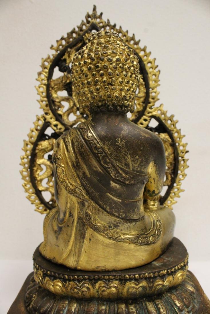 Pair Chinese bronze sculpture of Buddha - 8