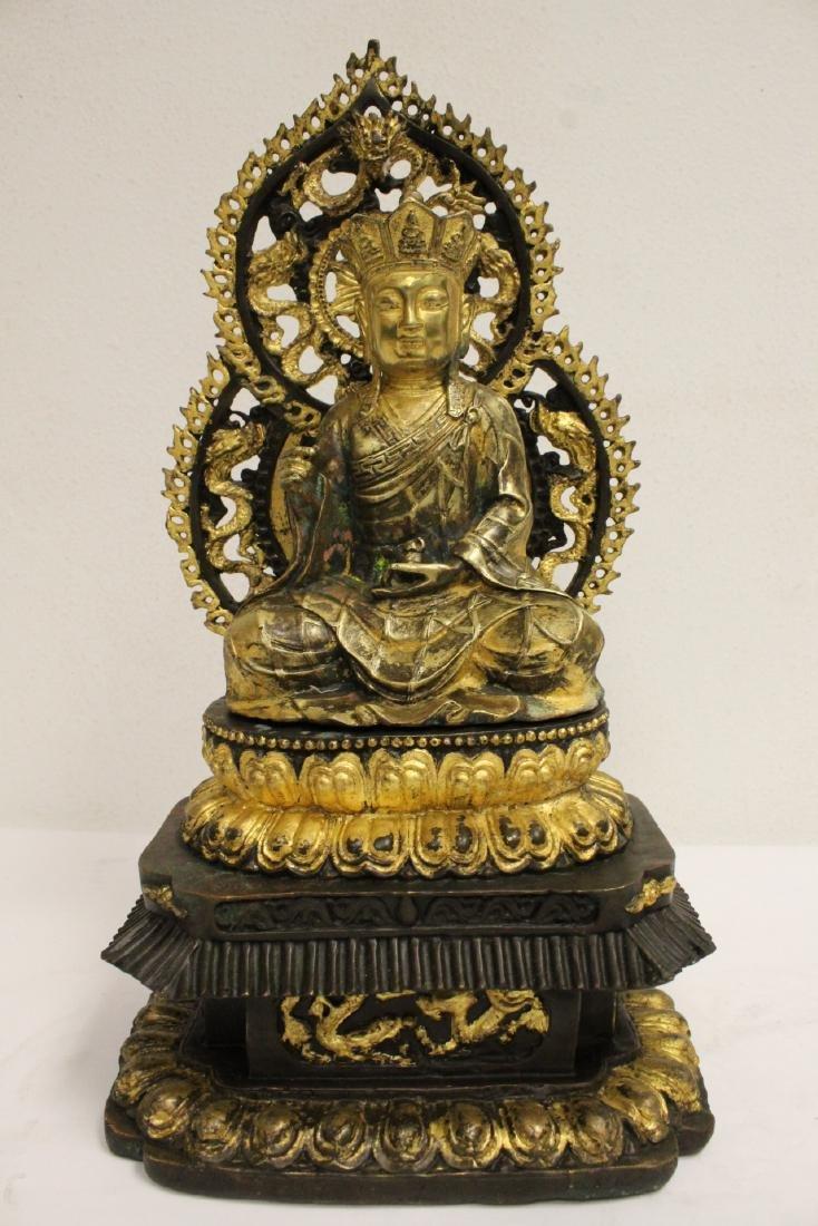 Pair Chinese bronze sculpture of Buddha - 9