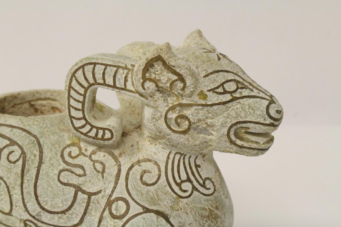 Chinese jade like stone carved ram - 10