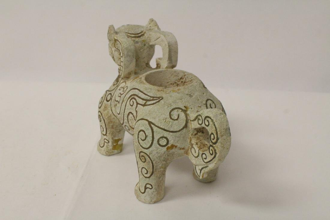 Chinese jade like stone carved ram - 6