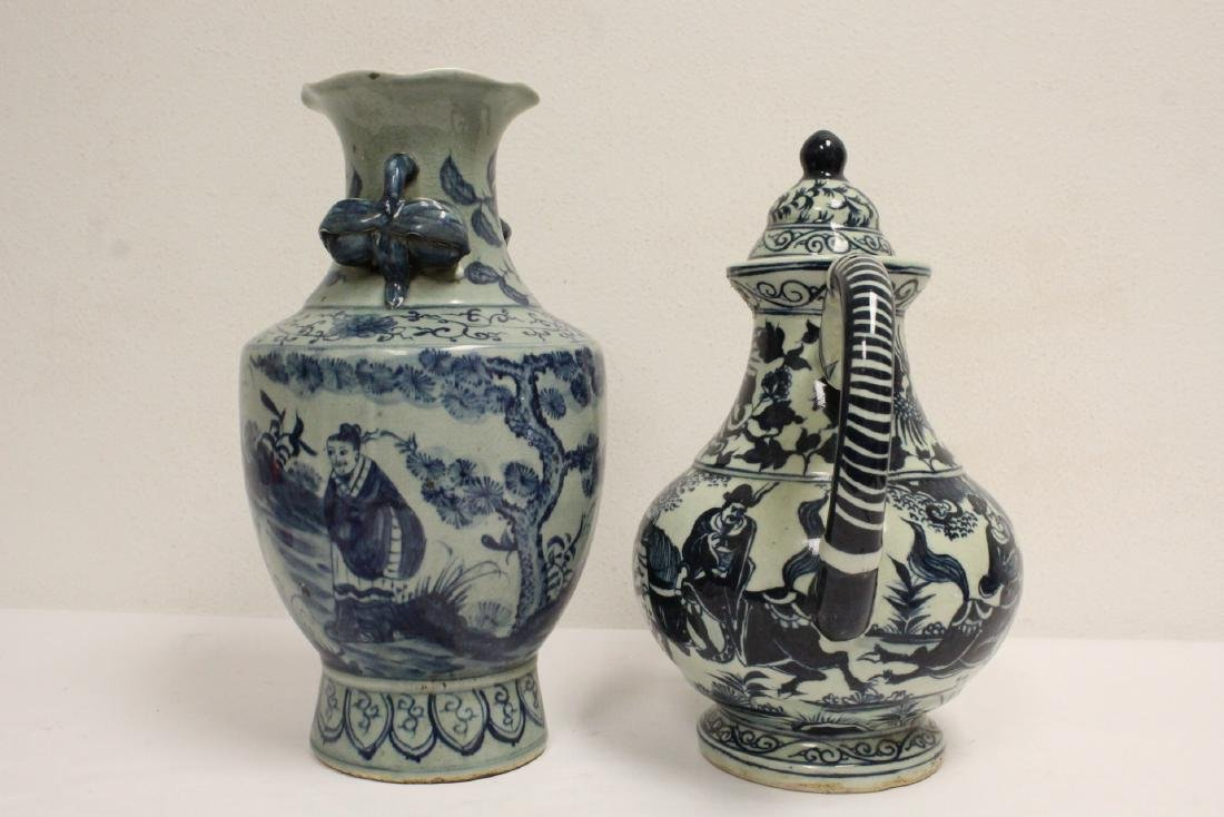 2 Chinse blue and white porcelain pieces - 3