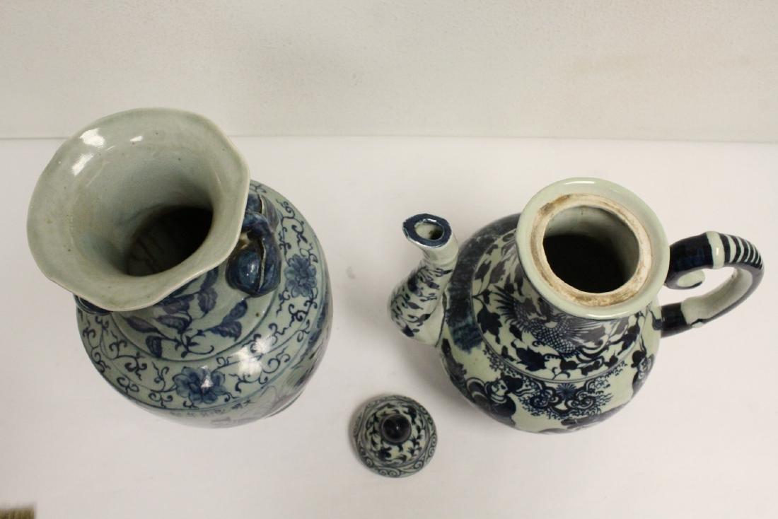 2 Chinse blue and white porcelain pieces - 4