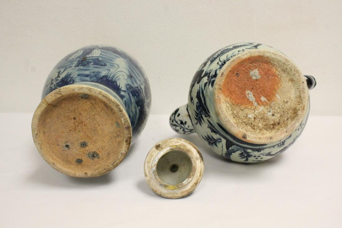 2 Chinse blue and white porcelain pieces - 5