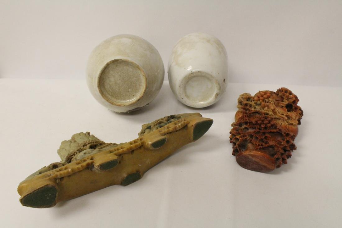 2 Chinese shoushan stone carvings & 2 porcelain vases - 10